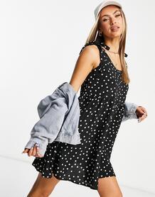 Черное платье-трапеция в горошек с завязками на плечах -Черный цвет In The Style 11703905