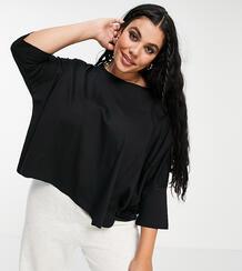 Черная свободная футболка с рукавами «летучая мышь» ASOS DESIGN Curve-Черный цвет Asos Curve 11874337