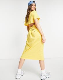 Желтое платье-футболка миди в стиле oversized с вырезом на спине -Желтый ASOS DESIGN 11897114