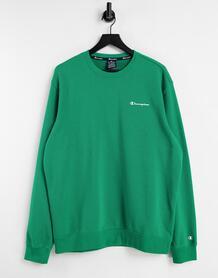 Зеленый свитшот с маленьким логотипом-надписью -Зеленый цвет Champion 11421510