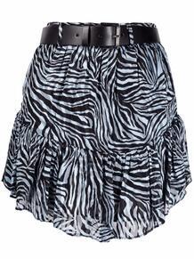 юбка мини с зебровым принтом и поясом Michael Michael Kors 1687296154