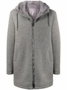 пальто с капюшоном и узором в елочку HERNO 168741735254