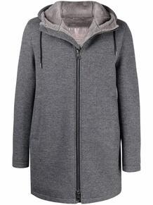 короткое пальто с капюшоном и узором в елочку HERNO 168913385256