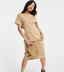 Бежевое oversized-платье миди с вырезом на спине ASOS DESIGN Petite-Коричневый цвет Asos Petite 11897122