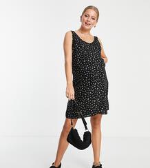 Черное мини-платье А-силуэта с цветочным принтом -Многоцветный Pieces Maternity 11695579