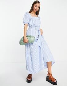 Ярусное платье макси в клетку -Многоцветный VILA 11841263