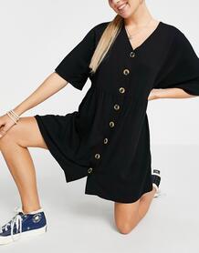 Черное свободное платье мини с пуговицами и V-образным вырезом -Черный цвет ASOS DESIGN 11834363