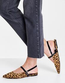 Балетки с леопардовым принтом, острым носком и ремешком на подъеме Lewin-Multi ASOS DESIGN 11366334