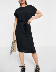Черное меланжевое трикотажное платье миди с поясом -Черный цвет Jdy 11614579