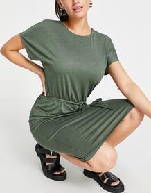 Зеленое меланжевое трикотажное платье миди с поясом -Зеленый цвет Jdy 11614568