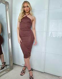 Шоколадное облегающее платье миди с открытой спиной и завязкой на шее -Коричневый цвет ASOS DESIGN 12164648