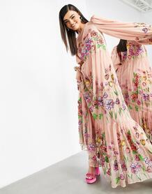 Нежно-розовое платье-трапеция макси с вышивкой и пышными рукавами -Розовый цвет ASOS Edition 10517904