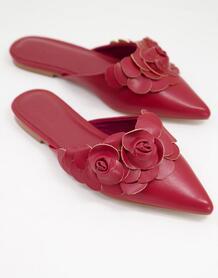 Бордовые балетки-мюли с заостренным носком и 3D-цветами Larch-Красный ASOS DESIGN 11410817