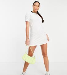 Белое платье-футболка с контрастной отделкой по горловине Lennie-Белый Brave Soul Tall 10773077