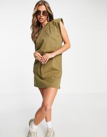 Платье-футболка цвета хаки с подплечниками -Зеленый цвет NaaNaa 11041624
