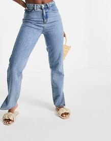 Винтажно-выбеленные джинсы с завышенной талией и разрезами -Голубой Lost Ink 11516450