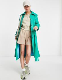 Зеленый однобортный тренч из искусственной кожи -Зеленый цвет Helene Berman 11406369