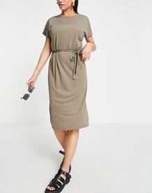 Светло-коричневое трикотажное платье миди с поясом -Коричневый цвет Jdy 11614599