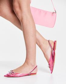Розовые балетки с острым носом, бантиком и ремешком на пятке Liana-Розовый цвет ASOS DESIGN 11410739