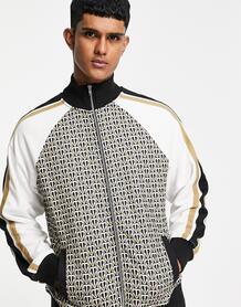 Олимпийка коричневого цвета со сквозной молнией и монограммами от комплекта -Коричневый цвет Topman 11349056