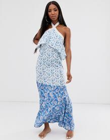 Ярусное пляжное платье макси с высоким воротом и принтом пейсли -Мульти ASOS DESIGN 8465253