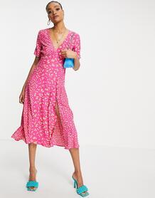 Платье миди с комбинированным принтом Bonita-Розовый цвет French Connection 11495881