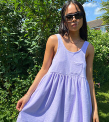Сиреневое летнее платье из махровой ткани -Фиолетовый цвет Collusion 11541963