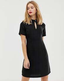 Короткое приталенное платье с высоким воротом на застежке Femme-Черный SELECTED 8013403