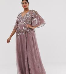 Платье макси с рукавами клеш и цветочной вышивкой ASOS DESIGN Curve-Мульти Asos Curve 8565086