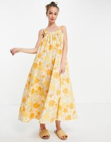 Платье-трапеция макси в стиле 70-х с цветочным принтом -Multi ASOS DESIGN 11887859