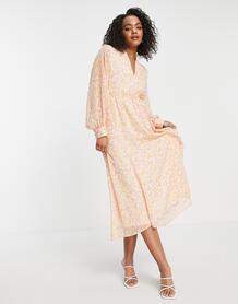Розовое платье миди с принтом Femme-Multi SELECTED 11838257