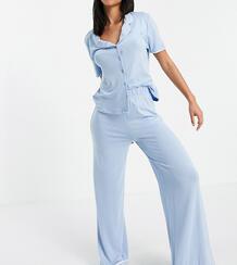 Длинная пижама синего цвета с кантом -Розовый цвет MISSGUIDED 12114352