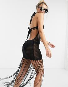 Ажурное пляжное платье мини сбахромой черного цвета -Черный цвет ASOS DESIGN 9629495
