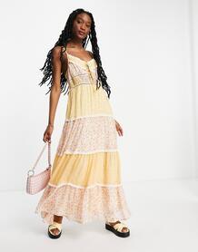 Комбинируемое ярусное платье макси на бретельках с цветочным принтом -Multi ASOS DESIGN 11536769