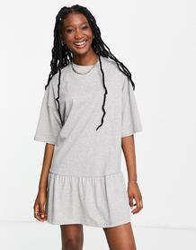 Серое меланжевое платье-футболка в стиле oversized с оборкой внизу -Серый ASOS DESIGN 11221739