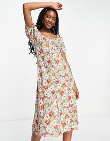 Присборенное спереди платье миди с цветочным принтом -Multi Influence 11721140