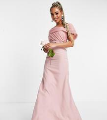 Нежно-розовое платье-бандо с отделкой из органзы Bridesmaid-Розовый цвет MISSGUIDED 11775784