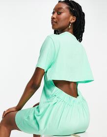 Платье-футболка мини цвета зеленого яблока с открытой спиной -Зеленый цвет ASOS DESIGN 102104972