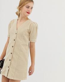 Светло-бежевое вельветовое платье с пышными рукавами -Neutral ASOS DESIGN 7910642