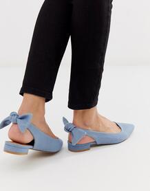 Джинсовые балетки с ремешком на пятке и бантиками Lizzie-Синий ASOS DESIGN 8637667