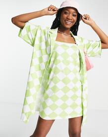 Зеленое платье мини «2 в 1» на бретелях с узором «арлекин» -Multi ASOS DESIGN 101924383