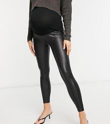 Черные леггинсы из искусственной кожи с защипами и вставкой для живота ASOS DESIGN Maternity-Черный Asos Maternity 10538208