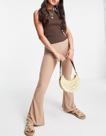 Расклешенные брюки в рубчик цвета мокко от комплекта -Коричневый цвет Only 11775161