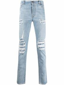 прямые джинсы с эффектом потертости BALMAIN 163057255153