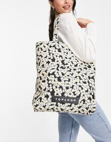 Тканевая черная сумка-тоут с принтом ромашек -Черный цвет TOPSHOP 12119931