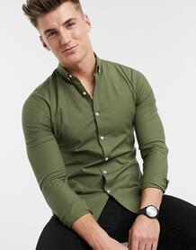 Обтягивающая оксфордская рубашка хаки с длинными рукавами -Зеленый цвет New Look 104933635