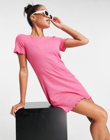 Платье-футболка мини в рубчик Mandy-Розовый цвет Brave Soul 11388971