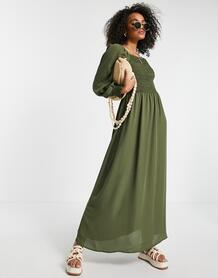 Платье мидакси цвета хаки с присборенным лифом и пышными рукавами -Зеленый цвет Jdy 11766701