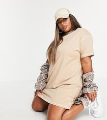 Бежевое платье-рубашка с контрастной строчкой -Коричневый цвет Missguided Plus 12121393