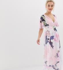 Платье макси с рукавами-кимоно и принтом -Мульти Little Mistress Petite 8020396